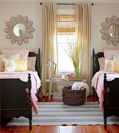 Do your girls get to share a room? We love this mature look: http://www.bhg.com/rooms/bedroom/makeovers/guest-bedroom-ideas/?socsrc=bhgpin082914roomforacrowd&page=5