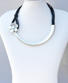 Statement Leather Necklace with silver plated connector and