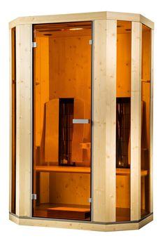 Die Ergo-Balance II deluxe Infrarotkabine mit LED-Farblichtbad,     Aromabad,       Fußboden mit integrierter    Thermozone,      Vollspektrum - Sonnenlicht,      ergonomisch geformte Armlehnen und bewegliche Rückenlehnen,      zwei Handtuchhalter,      vollelektronische Steuerung mit sensitivem Bedienfeld und integriertem MP3-Player,      wahlweise Glas/Holzteile