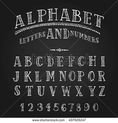 Set of hand drawn ornate letters and numbers. English uppercase grunge serif font. Vector white chalk lettering design.