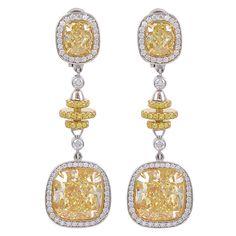Fancy Intense Yellow Cushion Cut Diamond Drop Earrings