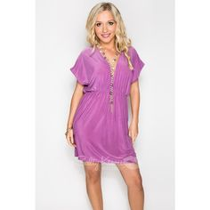 "Deep-V Dress ""Orchid Purple"", available for $29.50 for registered customers! Deep V Dress, Bikini Cover Up, Bikini Dress, Tall People, Cute Dresses, Hemline, Orchids, Wrap Dress, Suits You"