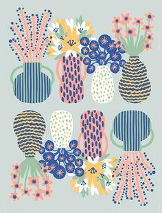 【Flower arrangement2】#illust #textile #design #花 #botanical #植物 #イラスト #北欧デザイン #北欧イラスト #テキスタイル North Europe, Scandinavian Design, Pattern Design, Scenery, Textiles, Floral, Illustration, Animals, Inspiration