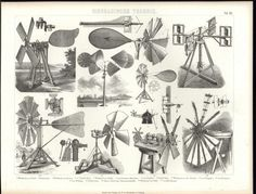 Technical Machinery Windmills Naturally Powered c.1870 antique engraved print | eBay
