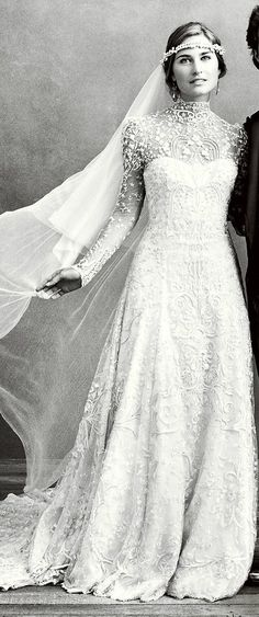 high neck + lace + veil