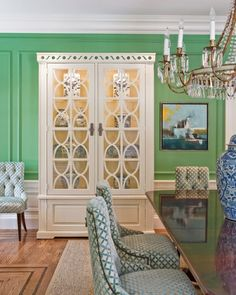 Aesthetic Oiseau: Aqua Jade Dining Room from Katie Rosenfeld  Love the color, but I'm not brave enough!
