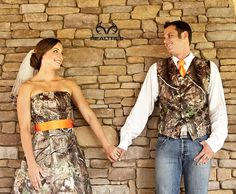 "Realtree Camo Wedding - Just Say "" I Do."" I wouldn't ever wear a full blown camo wedding dress, but I LOVE his vest! Cute Wedding Ideas, Wedding Inspiration, Camo Formal, Camo Wedding Dresses, Camo Dress, Dream Wedding, Wedding Things, Perfect Wedding, Wedding Stuff"