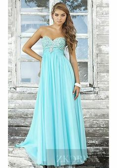 Sexy Light Sky Blue Sleeveless Long Chiffon Natural Evening Dresses zkdress23125