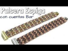 Pulsera Espiga con cuentas Bar. Técnica Herringbone Stitch. DIY - YouTube