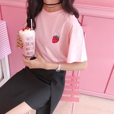 itGirl Shop RED STRAWBERRY EMBROIDERY PINK SHORT SLEEVE T-SHIRT Aesthetic Apparel, Tumblr Clothes, Soft Grunge, Pastel goth, Harajuku fashion. Korean and Japan Style looks