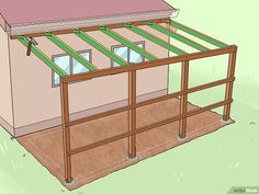 How to Add a Lean To Onto a Shed. When your shed or other storage building no longer provides enough room, you can add additional storage if you add a lean-to onto a shed. If the existing shed is structurally sound and has an exterior wall. Rustic Pergola, Curved Pergola, Pergola Ideas, Pergola Kits, Metal Pergola, Pergola Garden, Cheap Pergola, Lean To Shed Plans, Woodworking Projects