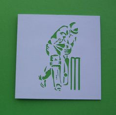 Cricket Card - Birthday Card - Father's Day Card - Personalised Paper Cut Cricketer - Greeting Card for a Man, Dad, Husband, Son, Boyfriend Birthday Cards For Boys, Handmade Birthday Cards, Special Birthday, Dad Birthday, Foundation Logo, Cricket Crafts, Halloween Crafts For Kids, Handmade Greetings, Art Tutorials
