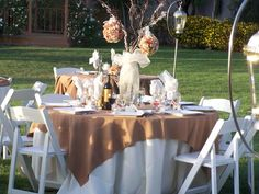 Allie's Party Rental Poly Ivory and Cinnamon Linens