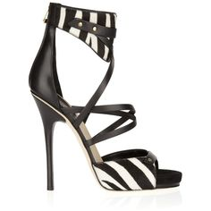 Jimmy Choo Jet calf hair and leather sandals ❤ liked on Polyvore featuring shoes, sandals, heels, black high heel shoes, black heeled sandals, high heel shoes, white and black sandals and black shoes