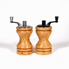 9ad1494ab280 Maple burl salt mill and pepper mill set, salt and pepper grinder set, salt  and pepper mill set, Map