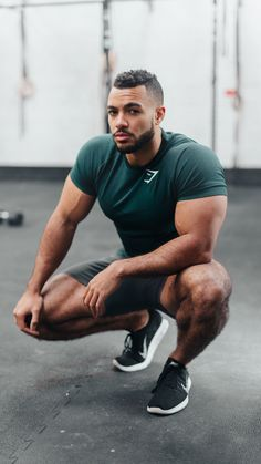 Gymshark Athlete, Justin St Paul post workout sporting the new Performance Seamless T-Shirt in Forest Green, launching Thursday 14th December at 3pm GMT.