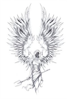 Angel wings drawing 157934 archangel tattoo design from deviantart Art Drawings Sketches, Tattoo Sketches, Tattoo Drawings, Body Art Tattoos, Flame Tattoos, Tattoos Skull, Tattoo Art, Tatoo Angel, Guardian Angel Tattoo