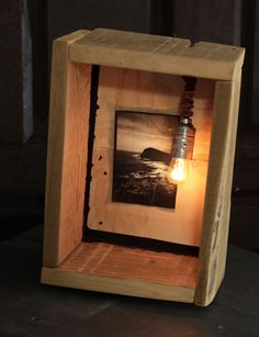HANDMADE Photo Lightbox #229 _ Made in August 2015 | Reclaimed woodbox + old notebook-sheet + LEATHER cordered wire + light DIMMER |