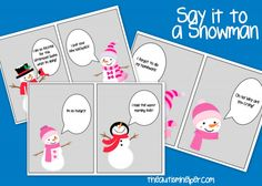 Say it to a Snowman {fun game to work on social skills - freebie!} by theautismhelper.com