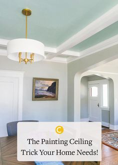 Say hello to the statement ceiling! See this incredible dining room makeover with the perfect airy blue-green paint color Headspace on the ceiling! Classic Dining Room Paint, Neutral Dining Room Paint, Blue Green Paints, Green Paint Colors, Ceiling Paint Colors, Living Room Update, Painting Trim, Headspace, Classic House