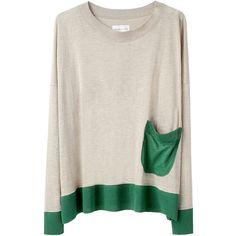 Tsumori Chisato Linen Gauze Knit W Pocket ($266) ❤ liked on Polyvore