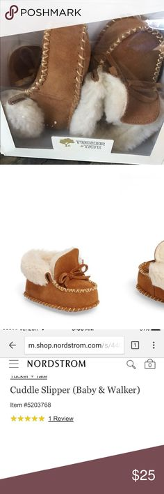 Tucker and Tate cuddle baby slipper Adorable slipper/moccasins in chestnut color with fleece lining of warmth! Never used. Never taken out of box. Size medium (6-12 months). Tucker + Tate Shoes Slippers