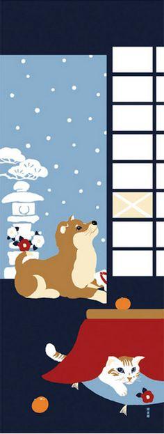 Japanese Tenugui Cotton Fabric, Hand Dyed Fabric, Kawaii Shiba Inu Dog, Cat, Cute Animal Fabric, Winter Wall Art Hanging, Home Decor, JapanLovelyCrafts
