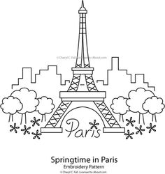 Eiffel Tower - Springtime in Paris Pattern: Eiffel Tower - Springtime in Paris Pattern
