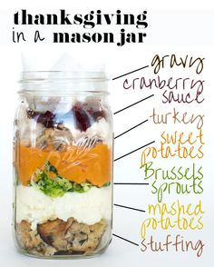 A 6 Course Meal Thanksgiving Feast all in a Mason Jar.perhaps, a lighter way to eat on a most indulging day? Mason Jar Lunch, Mason Jar Meals, Meals In A Jar, Mason Jars, Full Meals, Thanksgiving Feast, Thanksgiving Recipes, Holiday Recipes, Thanksgiving Blessings
