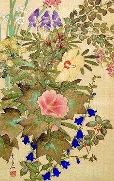 Detail. Flowers of autumn and winter: bush-clover, narcissus, hibiscus, miniature chrysanthemum and bell-flowers. Suzuki Kiitsu 鈴木其 Edo Period. Japanese hanging scroll. Rinpa School.