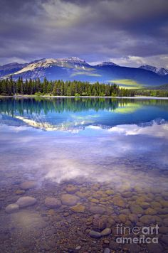 ~~A Rocky Sunset ~ evening light shining on the Rockies at Lake Annette, Jasper, Alberta, Canada by Tara Turner~~