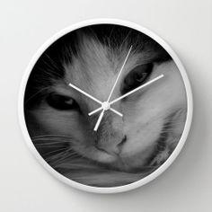 #Kitten #Feline Wall #Clock #White #Black Room #Decor by #PhotographybyLadybug, $50.00