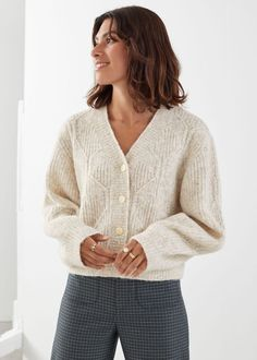 Button Up Cable Knit Cardigan - Oatmeal - Cardigans - & Other Stories Cable Knit Cardigan, V Neck Cardigan, Oversized Cardigan, White Cardigan, Fall Sweaters, Knit Sweaters, Knit Fashion, Fashion Story, S Models