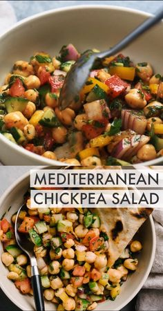 This quick and easy Mediterranean Chickpea Salad has it all - punchy flavor, bright colors, loads of healthy nutrients, and enough fiber and protein to keep you full and fueled for hours. Vegan Dinner Recipes, Vegan Dinners, Vegan Recipes Summer, Healthy Cooking Recipes, Gluten Free Dinners, Vegan Sweet Potato Recipes, Vegan Weeknight Meals, Vegan Chickpea Recipes, Vegan Crockpot Recipes