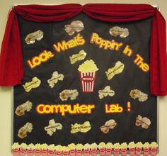 Look What's Poppin' In The Computer Lab More Teaching Computers, School Computers, Computer Teacher, Computer Class, Class Decoration, School Decorations, Instructional Technology, Educational Technology, Class Bulletin Boards