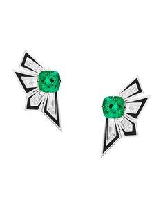 Stephen Webster Jewellery. White gold, emerald Dynamite earrings.