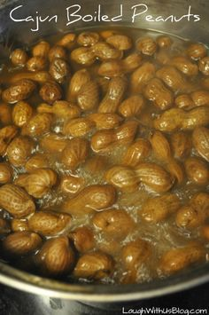 Cajun Boiled Peanuts Recipe--just like the road side stands. So easy to make at home! My pastor is from Florida. One day at church he asked me if I had had boiled peanuts. Peanut Recipes, Cajun Recipes, Crockpot Recipes, Snack Recipes, Cooking Recipes, Cajun Cooking, Creole Recipes, Top Recipes, Drink Recipes