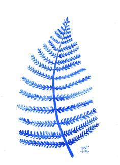 Blue Fern- original watercolor-scandinavian floral design - Zuhal Kanar