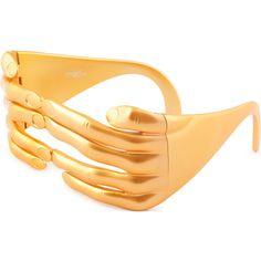 Jeremy Scott JSHANDSC3 Sunglasses ($201) ❤ liked on Polyvore featuring accessories, eyewear, sunglasses, gold, oversized glasses, over sized sunglasses, oversized eyewear, jeremy scott glasses and jeremy scott