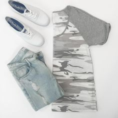 Classic tee and jeans with an updated twist. Shop our Barracks Camo Tee.