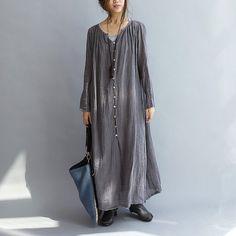 Women Linen Loose maxi dress long sleeve