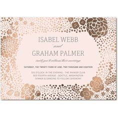 Golden Succulent: Floral - Signature Foil Wedding Invitations - Stacey Day - Light Gray - Gray : Front