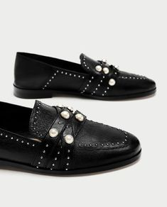 LEATHER LOAFERS WITH PEARL BEADS-NEW IN-WOMAN-NEW COLLECTION | ZARA Hungary