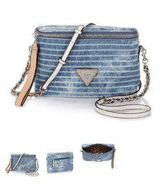 Bolso GUESS Amelle Petite City Crossbody Striped Denim Bag