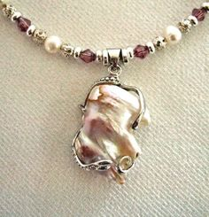 Baroque Pearl 18K White Gold Pendant Crystal by JewelrybyIshi, $75.00