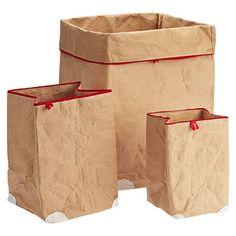 Red Trim Paper Bins