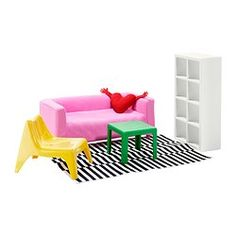 Ikea has a set of doll furniture!  Only this one room, but come on, who doesn't want their daughter to have ikea doll furniture?!