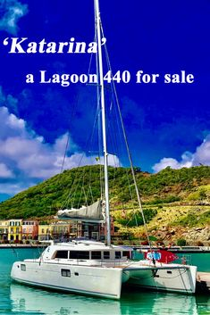 Space, comfort and convenience on this well-maintained Lagoon 440 catamaran. Used Sailboats For Sale, Sailboat Cruises, Catamaran, Sailing, Cabin, Live, Space, Candle, Floor Space