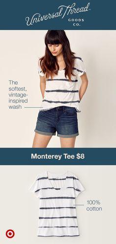 6f50c260de4f Women's Short Sleeve Monterey Pocket V-Neck T-shirt - Universal Thread™ Tie  Dye Stripe