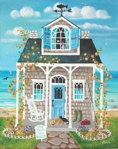 Fish Tales Cottage Original Folk Art Print by KimsCottageArt